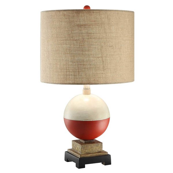2 Crestview Collection Bobber Red White Brown Table Lamps CRST-CVAVP338
