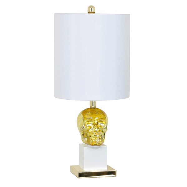 Crestview Collection White Gold Skull Table Lamp CRST-CVAVP472