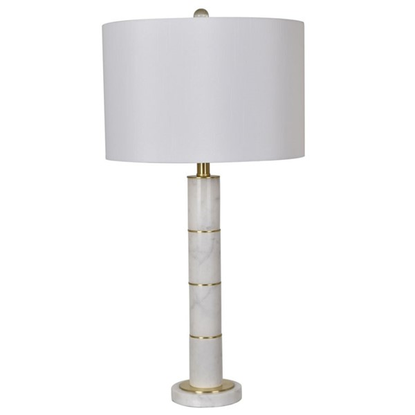 2 Crestview Collection White Marble Column Table Lamps CRST-CVAVP614