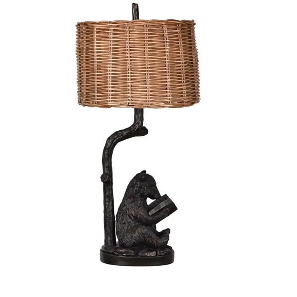 2 Crestview Collection Bear Bronze Knowledge Table Lamps CRST-CVAVP674