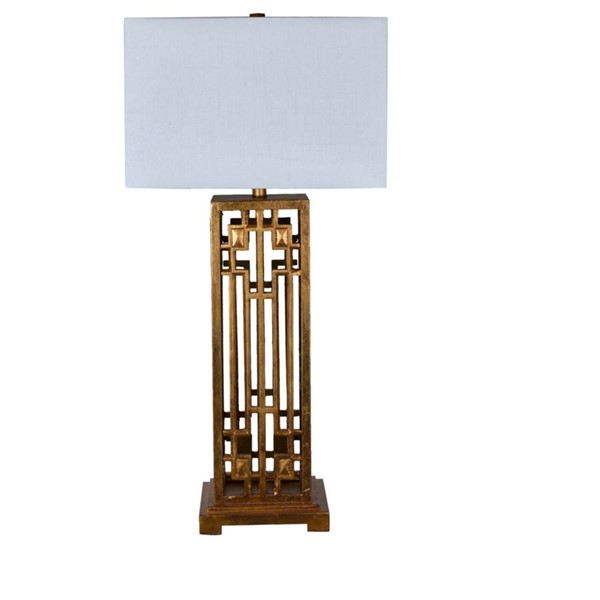 Crestview Collection Montgomery White Gold Leaf Table Lamp CRST-CVAVP681