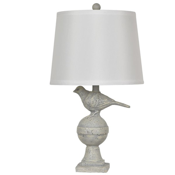 Crestview Collection Off White Grey Drum Shade Table Lamp CRST-CVAVP724