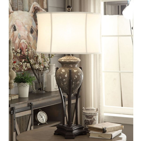 Crestview Collection Julia Distressed Grey Bronze Table Lamp CRST-CVAVP949