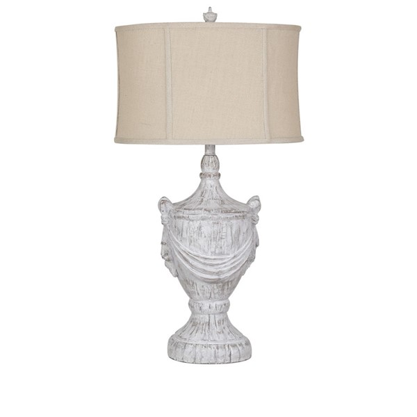Crestview Collection Jameson White Wash Burlap Table Lamp CRST-CVAVP974B