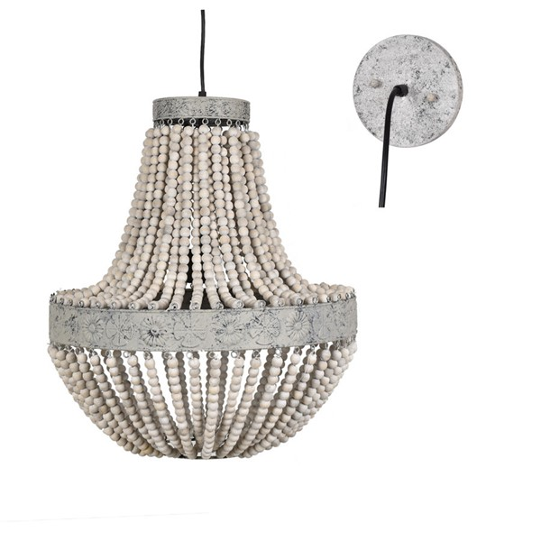 Crestview Collection Andrea White Grey Washed Chandelier CRST-CVAVP996