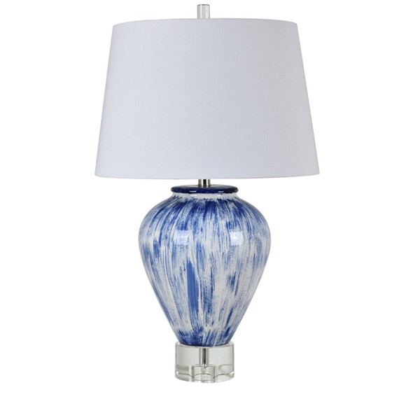 Crestview Collection Carlson Blue White Table Lamp CRST-CVAZP034