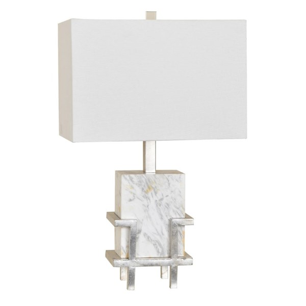 Crestview Collection Dumont White Square Shade Table Lamp CRST-CVAZVP016