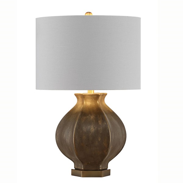 Crestview Collection Distressed Gold White Table Lamp CRST-CVAZVP029