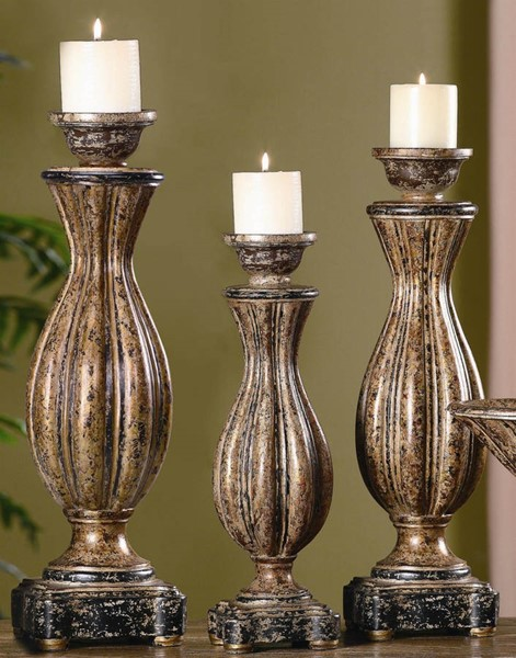Crestview Collection Avignon Bronze 3pc Candle Holders CRST-CVCHE218