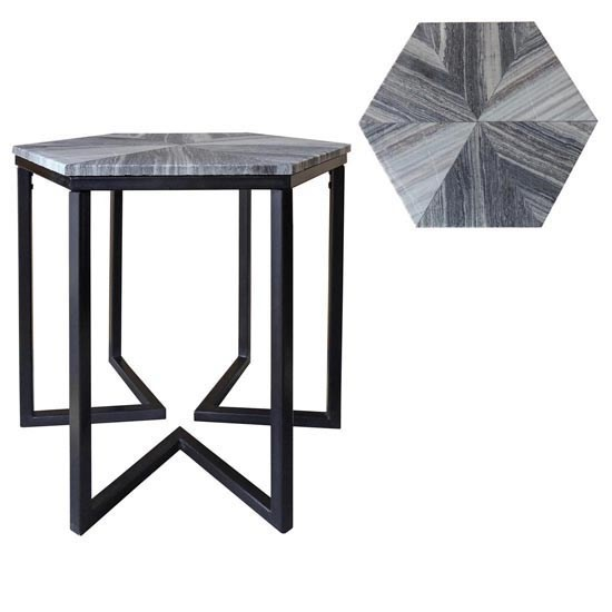 Crestview Collection Bengal Manor Grey Marble Accent Table CRST-CVFNR345