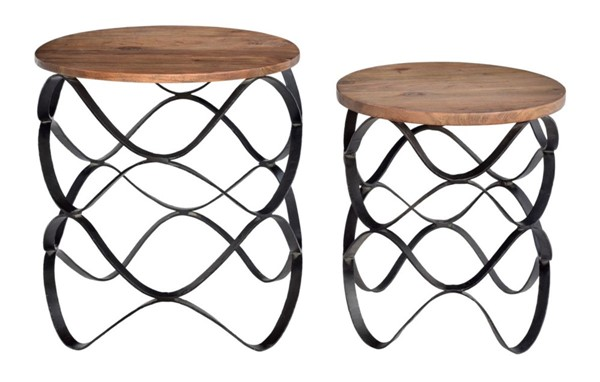 Crestview Collection Bengal Manor Wood 2pc Nesting Table Set CRST-CVFNR403