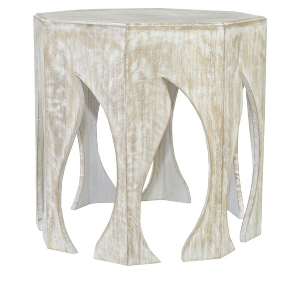Crestview Collection Bengal Manor White Brown Mango Wood Hexagon Side Table CRST-CVFNR653