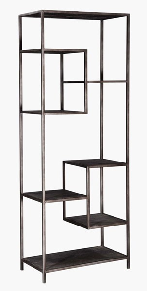 Crestview Collection Elmore Distressed Grey Etagere Bookcase CRST-CVFNR764