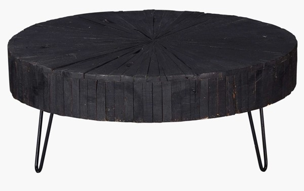 Crestview Collection Drummond Black Round Cocktail Table CRST-CVFNR770