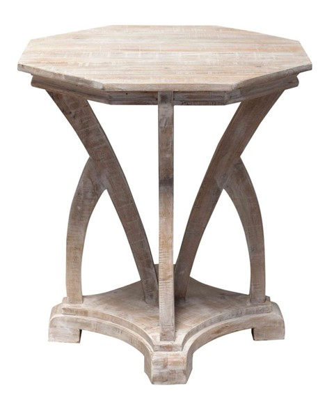 Crestview Collection Evelyn White Wash Round Accent Table CRST-CVFNR782