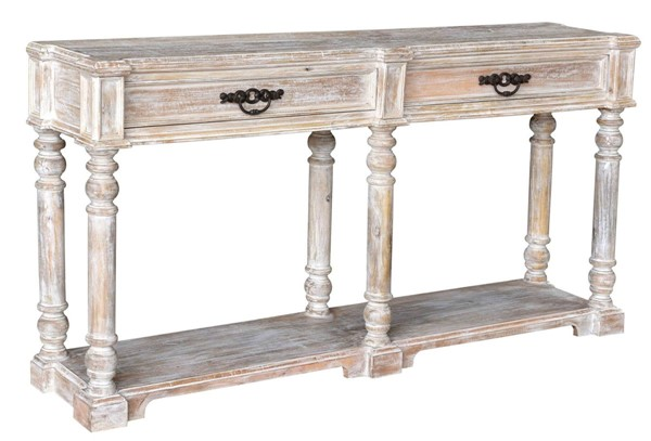 Crestview Collection Abbott White Wash Turned Leg Console Table CRST-CVFNR796