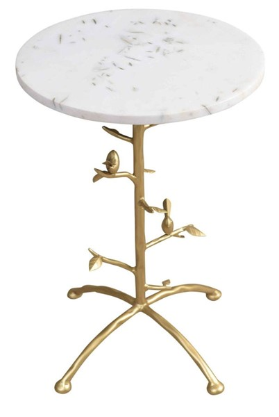 Crestview Collection Tweety Bird White Gold Side Table CRST-CVFNR834