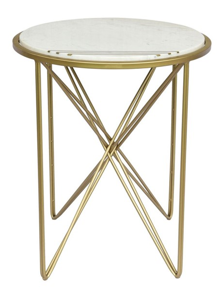 Crestview Collection Darby White Gold Marble Side Table CRST-CVFNR836