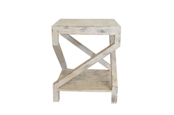 Crestview Collection Amelia Distressed White End Table CRST-CVFNR889