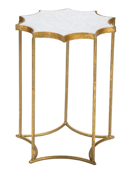 Crestview Collection Robyn White Gold Side Table CRST-CVFNR935