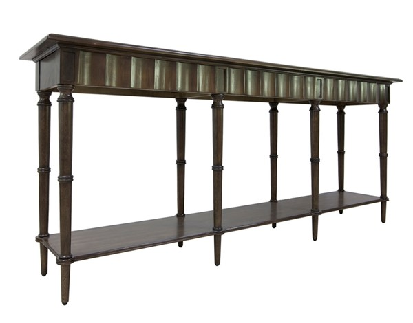 Crestview Collection Hawthorne Estate Scalloped Pine Console Table CRST-CVFVR8105