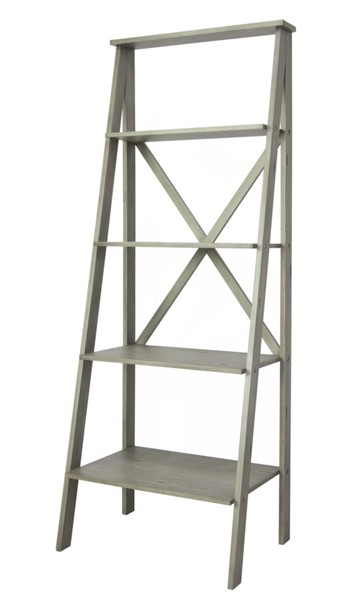 Crestview Collection Hawthorne Estate White Wash Angled Etagere Bookcase CRST-CVFVR8140