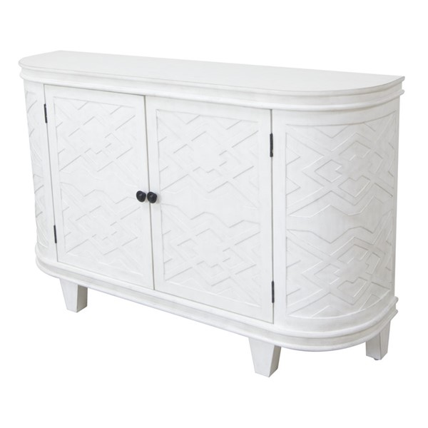Crestview Collection Hawthorne Estate White Fretwork Credenza CRST-CVFVR8154
