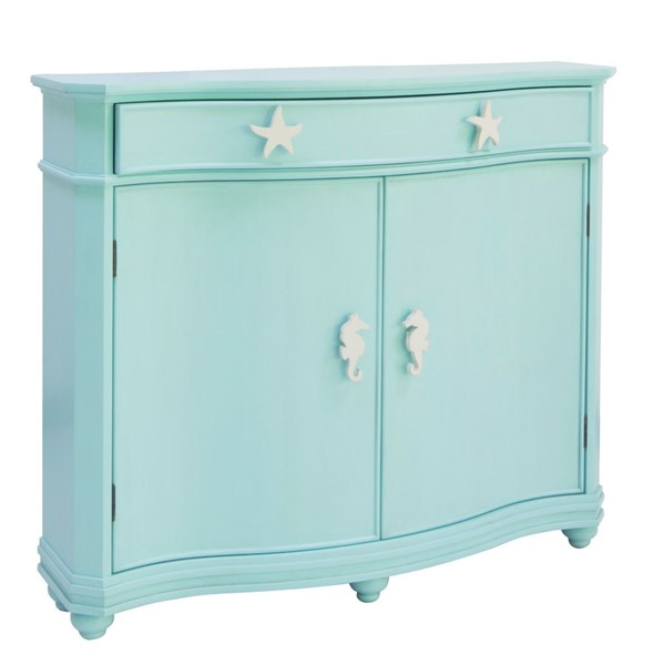 Crestview Collection Oceanside Turquoise Acacia Wood Cabinet CRST-CVFVR8228