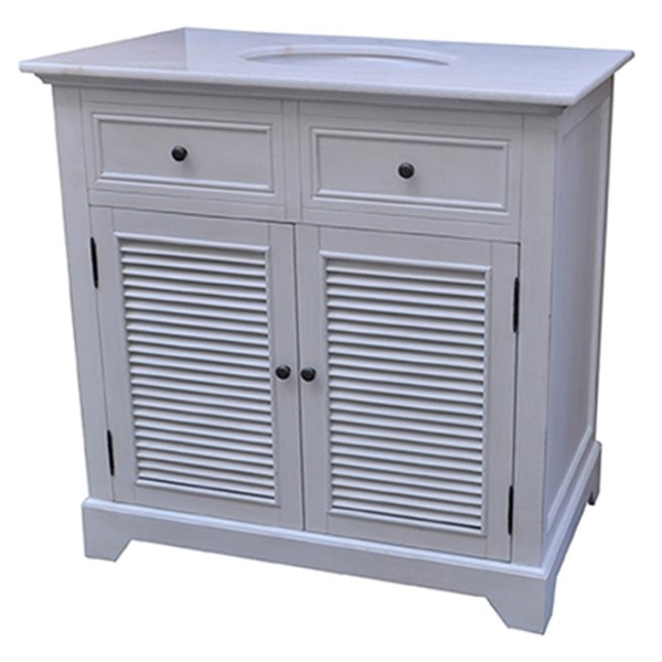 Crestview Collection White 2 Louvered Doors Vanity Sink CRST-CVFZR1336