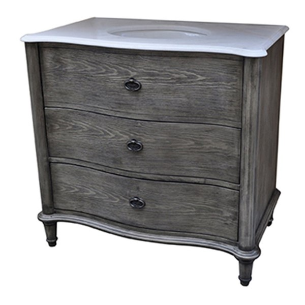 Crestview Collection Grayson Charcoal 2 Drawers Vanity Sink CRST-CVFZR1339