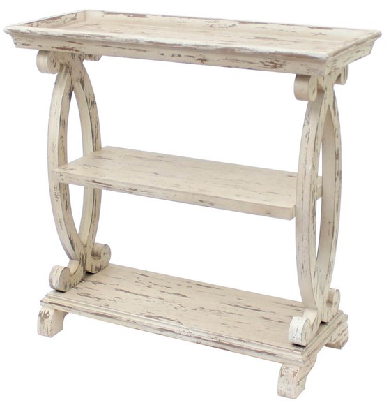 Crestview Collection Newport Distressed White Console Table CRST-CVFZR1538