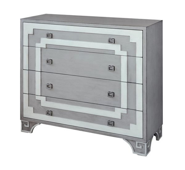 Crestview Collection Olympia White Grey 4 Drawers Chest CRST-CVFZR1631