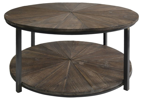 Crestview Collection Jackson Wood Round Cocktail Table CRST-CVFZR1697