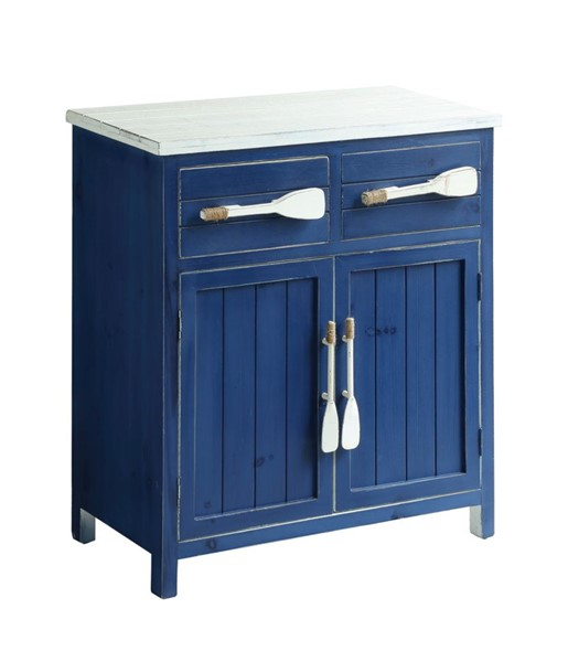 Crestview Collection Azure White Blue 2 Drawers Cabinet CRST-CVFZR1901