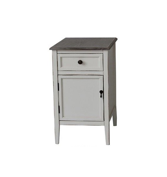 Crestview Collection Georgia White Wash Chairside Table CRST-CVFZR1927