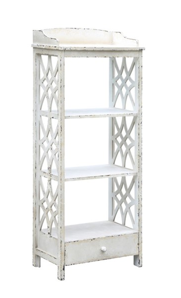 Crestview Collection Magnolia Distressed White Etagere CRST-CVFZR2196