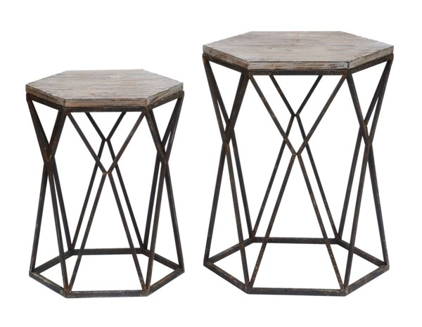 Crestview Collection Buena Vista Rustic 2pc Nesting Table Set CRST-CVFZR2254