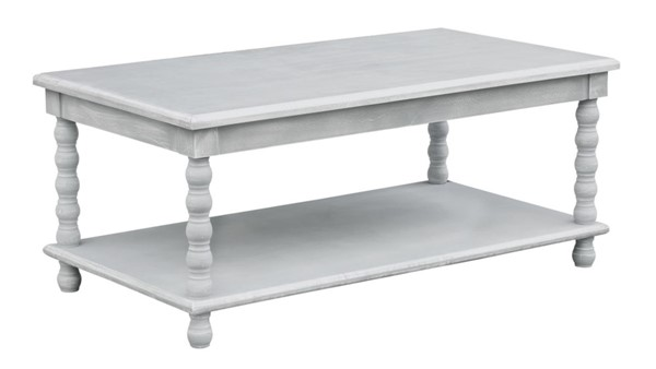 Crestview Collection Pembroke Chalk Grey Turned Cocktail Table CRST-CVFZR3527