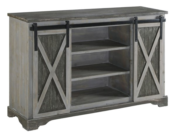 Crestview Collection Richland Grey 3 Shelves Media Console CRST-CVFZR3545