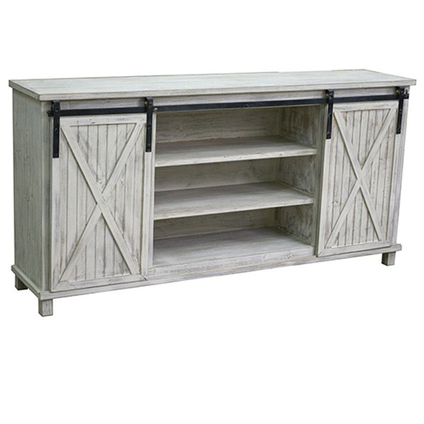 Crestview Collection Covington White Wash Media Console CRST-CVFZR3548