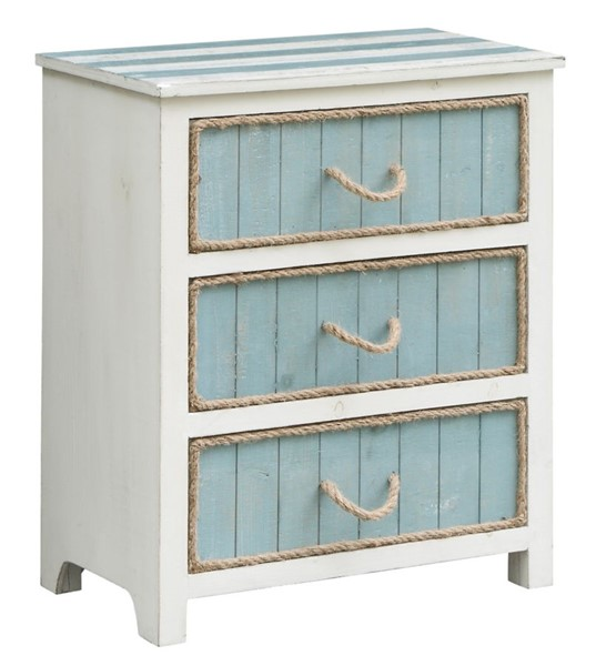 Crestview Collection South Shore Grey Blue White Rope Accent Chest CRST-CVFZR3560