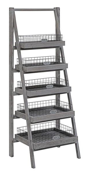 Crestview Collection Hastings Charcoal Grey Angled Etagere Bookcase CRST-CVFZR3587