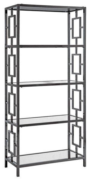 Crestview Collection Midnight Black Glass 4 Shelves Etagere CRST-CVFZR3613