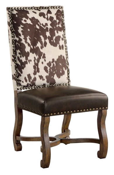 Crestview Collection Mesquite Ranch Leather Faux Cowhide Side Chair CRST-CVFZR3719