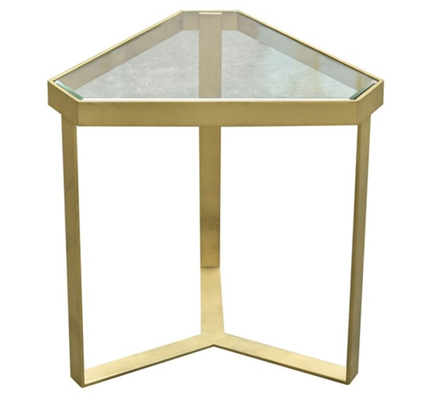 Crestview Collection Melrose Gold Triangle Accent Table CRST-CVFZR4002
