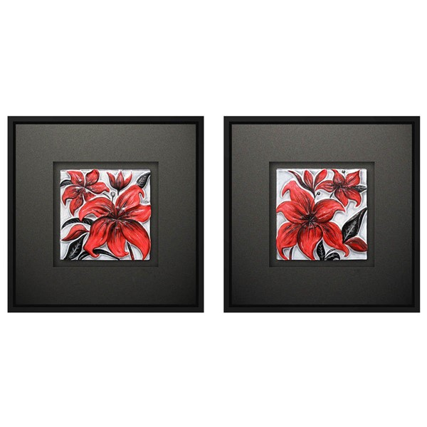 Crestview Collection Red Hot Square 2pc Wall Art CRST-CVTOP2030