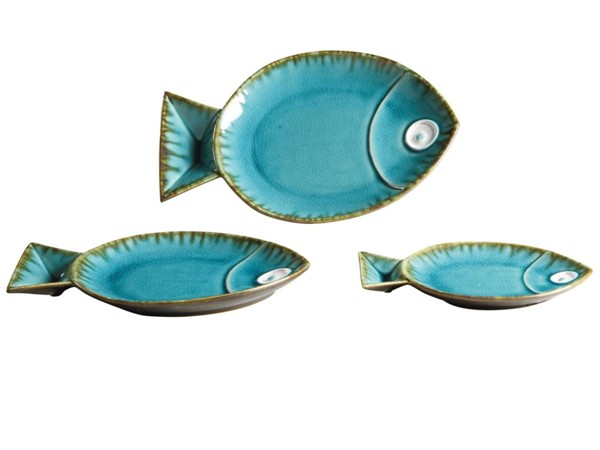 Crestview Collection Lake City Turquoise Blue 3pc Trays CRST-CVTRA094