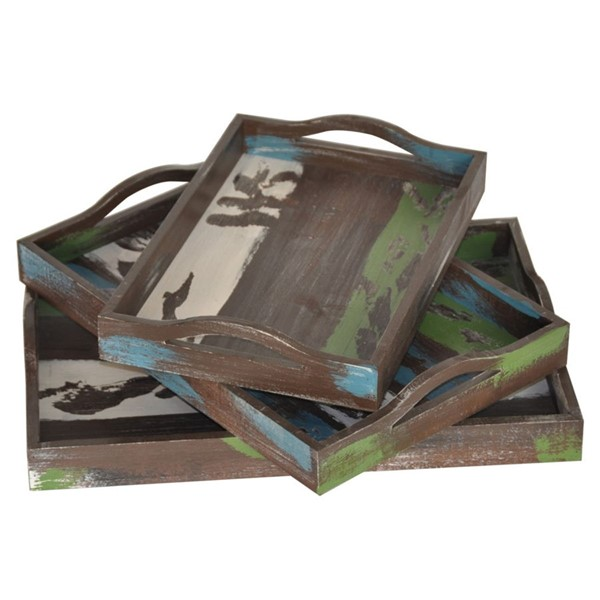 Crestview Collection Stack Brown Green Blue 3pc Trays CRST-CVTRA375