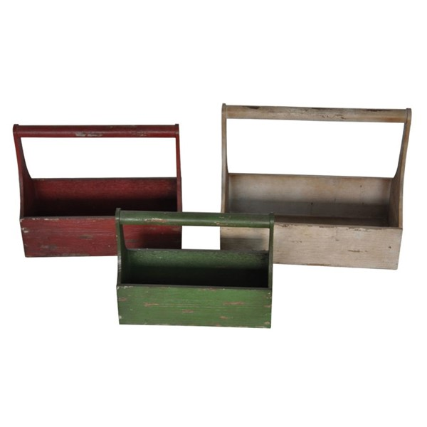 Crestview Collection Cream Green Red Wood 3pc Trays CRST-CVTRA378