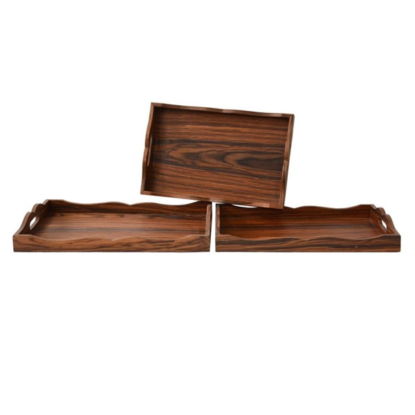 Crestview Collection Natural Wood 3pc Trays CRST-CVTRA381